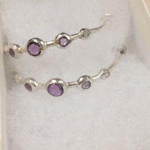 Ippolita amethyst diamond silver hoops